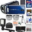 Bell and Howell - DV12HDZ HD Camcorder+32GB Card+Battery+Case+Tripod+Filters+Video Light+Tele/Wide Lens Kit - Blue