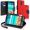 eForCity - Folio Wallet Stand Leather Case Cover w/ Lanyard for LG G3 D855 - Black, Red