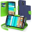 eForCity - Folio Wallet Stand Leather Case Cover w/ Lanyard for LG G3 D855 - Blue, Neon Green