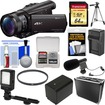Sony - Handycam FDR-AX100 Wi-Fi 4K HD Camcorder+64GB Card+Case+LED Light+Battery/Charger+Mic+Tripod+Filter