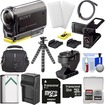 Sony - Action Cam HDR-AS30V Wi-Fi HD Camcorder +32GB Card+LCD Cradle+Tilt+Adhesive Mounts+Battery+Case - Black
