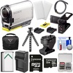 Sony - Action Cam HDR-AS100V Wi-Fi GPS HD Camcorder+32GB Card+LCD Cradle+Tilt+Adhesive Mounts+Battery+Case