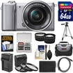 Sony - Alpha A5000 Wi-Fi Camera+16-50mm Lens +64GB Card+Case+Battery+Charger+Tripod+HDMI Cable+Tele Lens - Silver