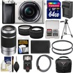 Sony - Alpha A6000 Wi-Fi Digital Camera+16-50mm Lens +55-210mm Lens+64GB Card+Case+Flash+Battery/Charger - Silver