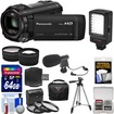 Panasonic - HC-V750K HD Wi-Fi Video Camera Camcorder w/ 64GB Card+Case+LED Light+Mic+Tripod+3 Filters+Tele lens