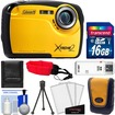 Coleman - Xtreme2 C12WP Shock+Waterproof Digital Camera with HD Video (Yellow) with 16GB Card+Case+Tripod+Acc - Yellow