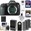 Canon - EOS 6D Digital SLR Camera Body with 64GB Card + 2 Batteries + Charger + Remote + Accessory Kit - Black