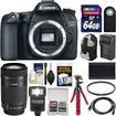 Canon - EOS 70D DSLR Camera Body w/ 55-250mm IS STM Lens+64GB Card+Backpack+Flash+Batt+Charger+Kit - Black