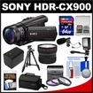 Sony - Handycam HDR-CX900 Wifi HD Camcorder+Fisheye Lens+64GB Card+Case+LED Light+Battery+Tripod+Filters