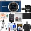 Samsung - WB350 Smart Wi-Fi Digital Camera (Blue) with 32GB Card + Case + Battery + Tripod + Kit - Blue
