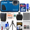 Canon - PowerShot D30 Shock+Waterproof GPS Digital Camera w/ 32GB Card+Case+Battery+Flex Tripod+Float Strap - Blue