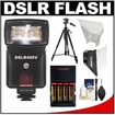 Precision Design - DSLR400V High Power Auto Flash+LED Video Light+Batts+Charger+Soft Box+Bounce Reflector+Tripod - Black