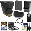 Canon - Zoom Pack 1000 Digital SLR Camera Holster Case+LP-E12 Batt+Charger+3 Filters+HDMI Cable+Remote+Hood - Black