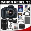 Canon - Bundle EOS Rebel T5 Digital SLR Camera Body & EF-S 18-55mm IS II Lens w/ 55-250mm IS Lens