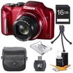 Canon - Bundle PowerShot SX170 IS 16MP Digital Camera 16Gb Kit - E2CNPSSX170ISR - Red