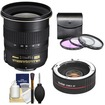 Nikon - 12-24mm f/4 G DX AF-S ED-IF Zoom-Nikkor Lens w/ 2x Teleconverter+3 UV/FLD/CPL Filters+Clean Kit - Black