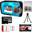 Coleman - Duo 2V7WP Dual Screen Shock + Waterproof Digital Camera with 8GB Card + Reader + Accessory Kit - Blue