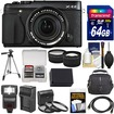 Fujifilm - X-E2 Digital Camera+18-55mm XF Lens with 64GB Card+Case+Flash+Battery+Tripod+Tele/Wide Lens Kit - Black