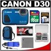 Canon - PowerShot Bundle PowerShot D30 Shock & Waterproof GPS Digital Camera - Blue
