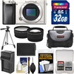 Sony - Alpha A6000 Wi-Fi Digital Camera Body with 32GB Card+Case+Battery/Charger+Tripod+Tele/Wide Lens Kit - Silver