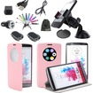 EEEKit - Bundle 10in1 Accessories Bundle Quick Circle Cover Case+Clear Screen Film+Car Holder for LG G3 - Hot Pink