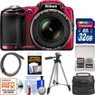 Nikon - Coolpix L830 Digital Camera with 32GB Card + Case + Tripod + HDMI Cable + Kit - Red