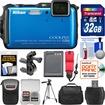 Nikon - Shock+Waterproof Wi-Fi GPS Camera+32GB+Cases+Batt+Tripod+Strap+Handlebar+Helmet Mount Kit - Blue