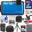 Nikon - Shock+Waterproof Wi-Fi GPS Camera+32GB+Case+Batt+Tripod+Strap+Suction Cup+Car Dashboard Mount Kit - Blue