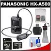 Panasonic - Bundle HX-A500H 4K HD 25p POV Wearable Waterproof Video Camera Camcorder with 32GB Card + Kit - Gray