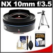 Samsung - 10mm f/3.5 NX Fisheye Lens with Tripod+Accessory Kit - Black