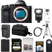 Sony - Alpha A7 Digital Camera Body with 64GB Card+Battery+Charger+Case+Tripod+Flash Kit - Black