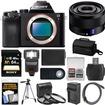 Sony - A7 Digital Camera Body +Sonnar T* FE 35mm f/2.8 ZA Lens+64GB Card+Case+Flash+Battery+Tripod Kit - Black