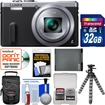 Panasonic - Lumix DMC-ZS40 Wi-Fi GPS Digital Camera (Silver) with 32GB Card+Case+Battery+Flex Tripod+Kit - Silver