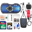 Ricoh - WG-4 Shock+Waterproof GPS Digital Camera w/ 16GB Card+Battery+Case+Tripods+Acc Kit - Blue
