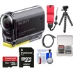 Sony - Action Cam HDR-AS20 Wi-Fi 1080p HD Video Camera Camcorder w/ 16GB Card+Floating Strap+Flex Tripod