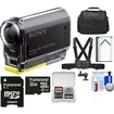 Sony - Action Cam HDR-AS20 Wi-Fi 1080p HD Video Camera Camcorder w/ 32GB Card+Chest Mount+Battery+Case+Kit