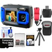 Coleman - Duo 2V9WP Dual Screen Shock+Waterproof Digital Camera w/ 16GB Card+Case+Float Strap+Flex Tripod+Kit - Blue