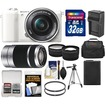 Sony - Alpha A5100 Wi-Fi Camera+16-50 Lens+55-210 Lens+32GB+Case+Battery+Charger+Tripod+Tele/Wide Lens Kit - White