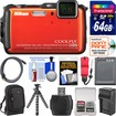Nikon - Coolpix AW120 Shock+Waterproof Wi-Fi GPS Camera Orange+64GB Card+Case+Battery/Charger+Flex Tripod - Orange