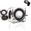 GOgroove - SonaVERSE CRS USB Powered 2.0 Channel Speakers with Adjustable Volume Control for Desktops - Clear