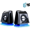 GOgroove - BassPULSE 2MX Desktop Speakers with Glowing Blue LED Lights - Works with Alienware and More - Black