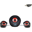 Accessory Genie - 2.1 Gaming Speaker System with Powered Subwoofer - Works with Battlefield 4 & More Video Games - Black, Red