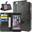 caseen - Ottimo Apple iPhone® 6 Plus Leather Wallet Case w/ Credit Card Pockets, Kickstand - Black