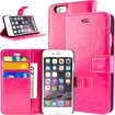 caseen - Ottimo Apple iPhone® 6 Plus Leather Wallet Case w/ Credit Card Pockets, Kickstand - Pink