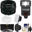 Canon - EF 50mm f/1.4 USM Lens with 3 Filters + Hood + Flash + 2 Diffusers + Kit - Black