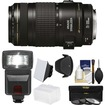 Canon - EF 70-300mm f/4-5.6 IS USM Zoom Lens with 3 Filters + Hood + Flash + 2 Diffusers + Kit - Black