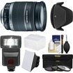 Canon - EF-S 18-200mm f/3.5-5.6 IS Zoom Lens with Flash + 3 Filters + Diffusers + Hood + Kit - Black
