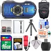 Ricoh - Shock+Waterproof GPS Digital Camera+16GB Card+Battery+Case+Floating Strap+Tripod+Acc Kit - Blue