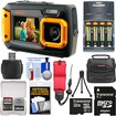 Coleman - Dual Screen Shock+Waterproof Digital Camera+32GB Card+Batteries+Charger+Case+Float Strap+Kit - Orange