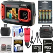 Coleman - Dual Screen Shock+Waterproof Digital Camera w/ 32GB Card+Batteries+Charger+Case+Float Strap+Kit - Red